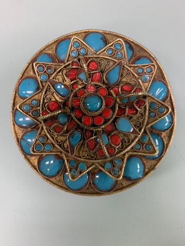 Turquoise, Coral And Brass Decorative Box