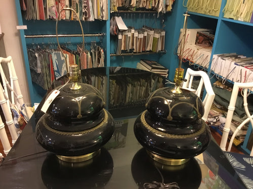 Black Glass Lamps (Pair) - Chestnut Lane Antiques & Interiors - 1