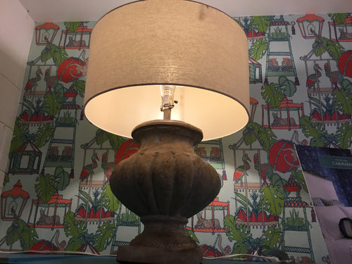 Contemporary Chunky Beige Lamp with Drum Shade (Pair) - Chestnut Lane Antiques & Interiors