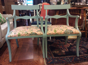 Set of 4 Newly Upholstered Duck Egg Blue Chairs - Chestnut Lane Antiques & Interiors - 3