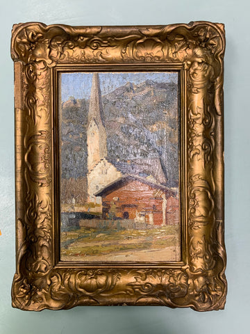 Framed Barn and Church Oil Painting
