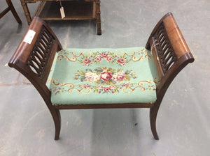 Needlepoint Vanity Stool - Chestnut Lane Antiques & Interiors - 3