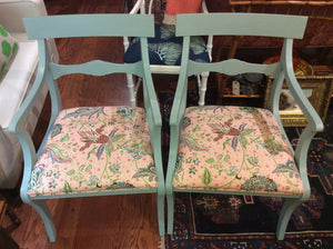 Set of 4 Newly Upholstered Duck Egg Blue Chairs - Chestnut Lane Antiques & Interiors - 5