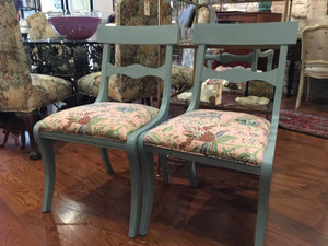 Set of 4 Newly Upholstered Duck Egg Blue Chairs - Chestnut Lane Antiques & Interiors - 4