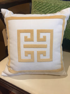 Cream/Gold Greek Key Pillow - Chestnut Lane Antiques & Interiors - 2