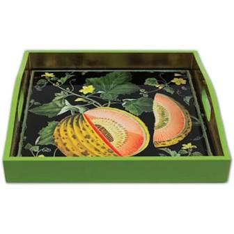 BrookShaw Melons Black-SQ Lacquer Square Tray