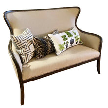 Load image into Gallery viewer, Off White High Back Linen Upholstered Love Seat