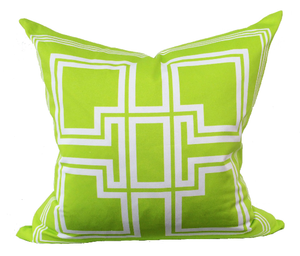 Greek Key Lime Green Pillow - Chestnut Lane Antiques & Interiors - 2