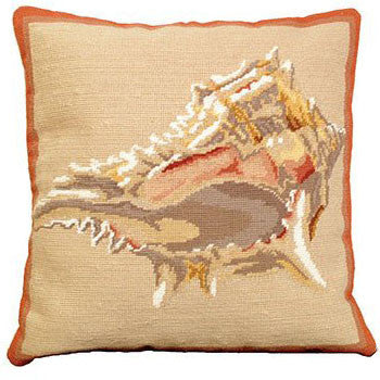 Murex Shell Needlepoint Pillow - Chestnut Lane Antiques & Interiors