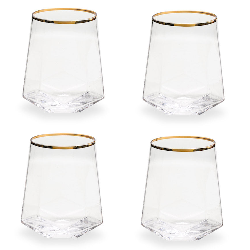 Bubbly Geo Bar Glasses - Set of 4