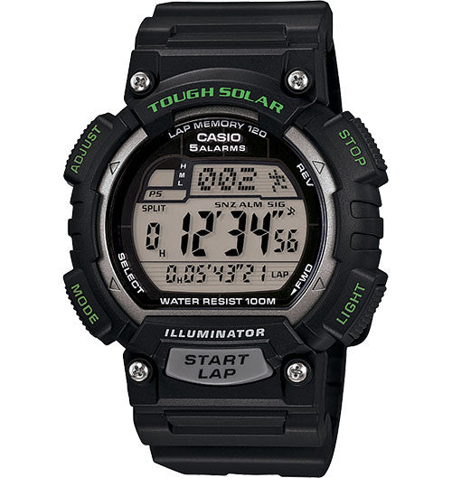Casio STLS100H-1AV Solar Runner's Watch - Black - PhotonBuzz.com