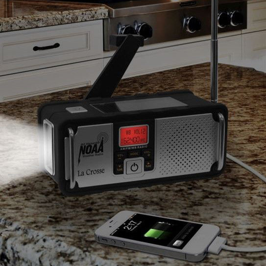 La Crosse Technology AM/FM/WB NOAA Solar Weather Radio and LED Flashlight - PhotonBuzz.com