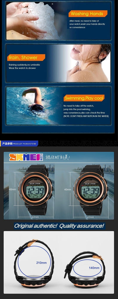 SKMEI Brand Solar energy Men Electronic Sports Watches Outdoor Military LED Watch Digital Quartz Wristwatches  Reloj Para Hombre - PhotonBuzz.com