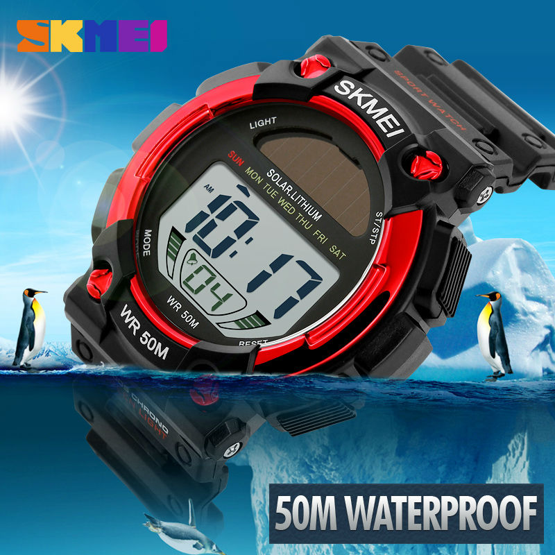 SKMEI LED Solar Outdoor Sports Watches Mens Shock Resistant Multifunctional Watch 50M Waterproof Digital Mens Wristwatches 2017 - PhotonBuzz.com