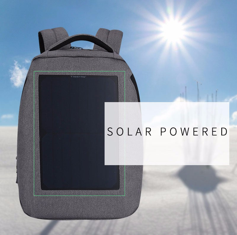 Tigernu New 10W Solar Powered & Anti Theft Backpack with Solar Panel Bottle Bag Men and Women Laptop Bag - PhotonBuzz.com