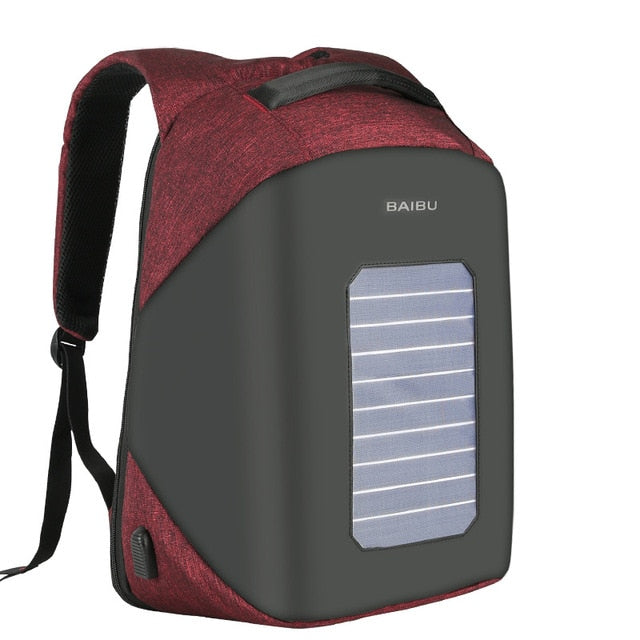 2018 BAIBU Fashion Men's Anti-theft Backpacks USB Design Solar Charge 15.6 Inch Laptop Business Backpack Waterproof Travel Bag - PhotonBuzz.com