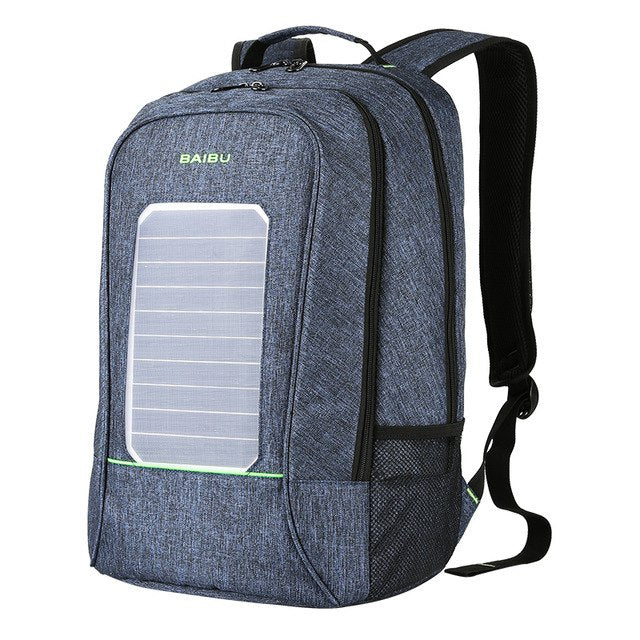 Multifunction Solar Energy Men Women Backpack Anti Thief Waterproof 15.6 inch Laptop USB Charging Backpack Leisure Travel Bags - PhotonBuzz.com