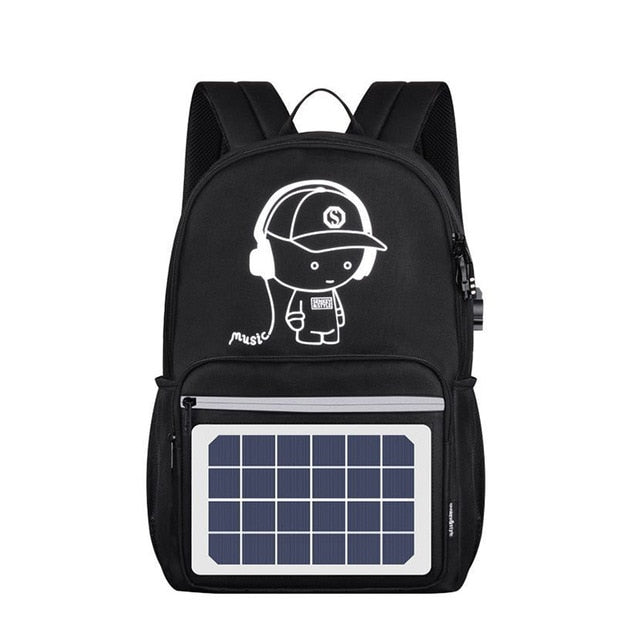 Solar Powered Backpack USB Charging Anti-Theft Laptop Backpack for Men Shoulder Bags LXX9 - PhotonBuzz.com