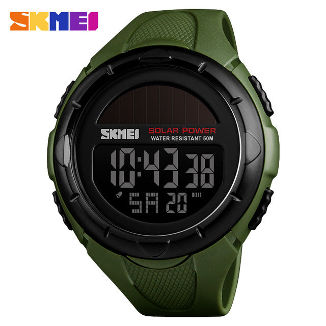 SKMEI Solar Power Men Sports Watches Waterproof LED Digital Watch Men Luxury Brand Electronic Mens Wrist Watch Relogio Masculino - PhotonBuzz.com