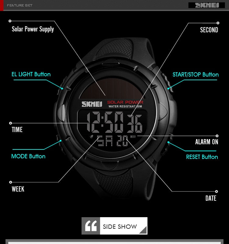 Luxury Outdoor Mens Watches SKMEI Waterproof Solar Power Digital Watch Fashion Men Clock Sports Wrist watches Relogio Masculino - PhotonBuzz.com