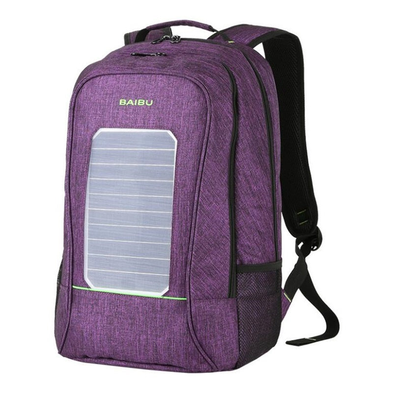 Removable Solar External USB Charging Men Canvas Backpack Unisex Laptop Notebook Business Large -capacity Antitheft Backpack - PhotonBuzz.com