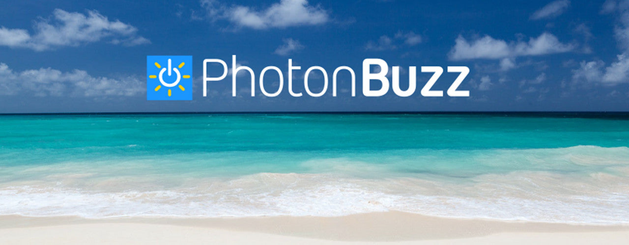 Photonbuzz logo on the beach