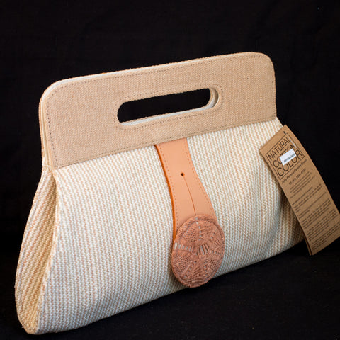 Organic Cotton Clutch Bag with Button Accent