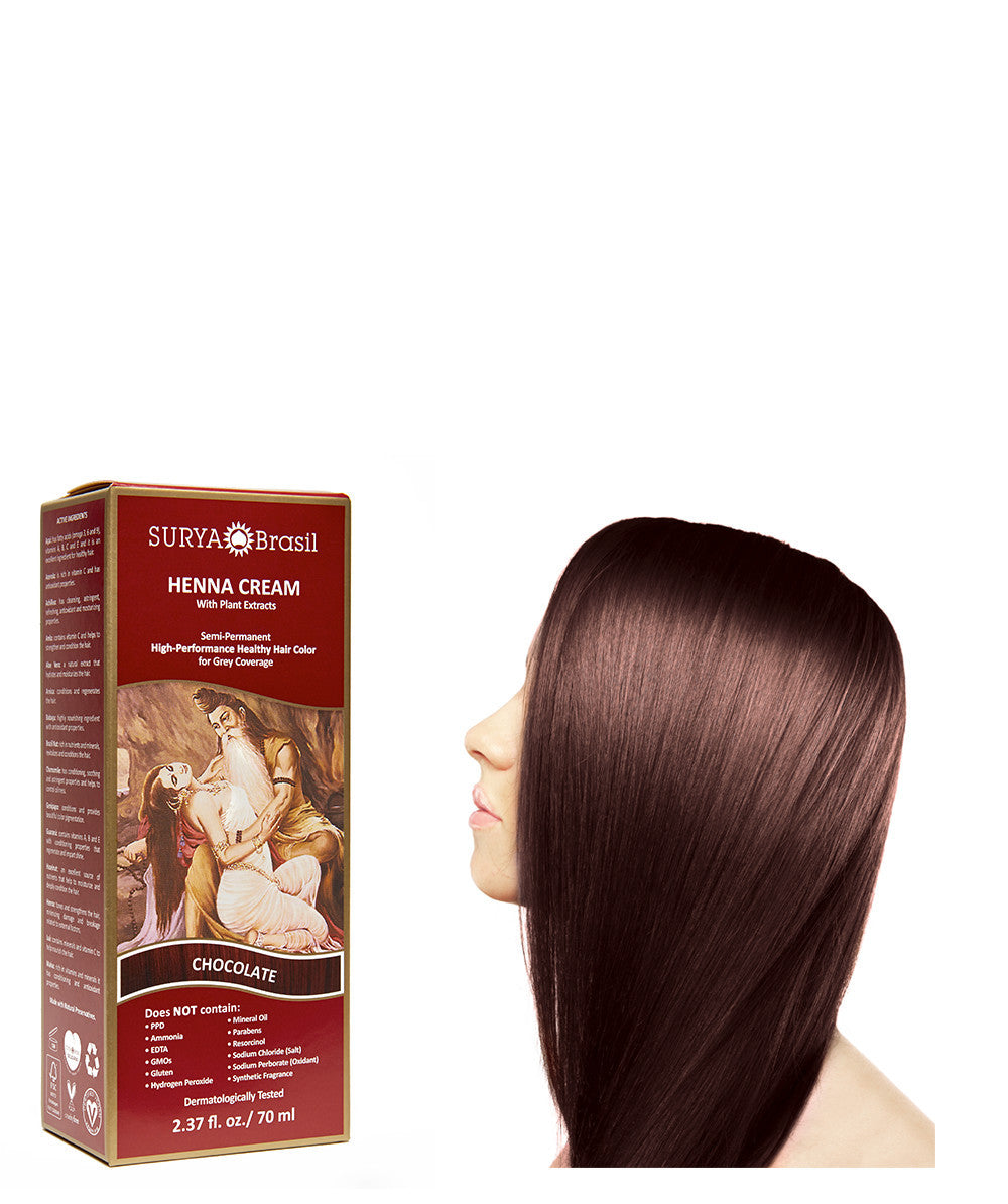 Chocolate Henna Cream Natural Chocolate Hair Color Surya Brasil