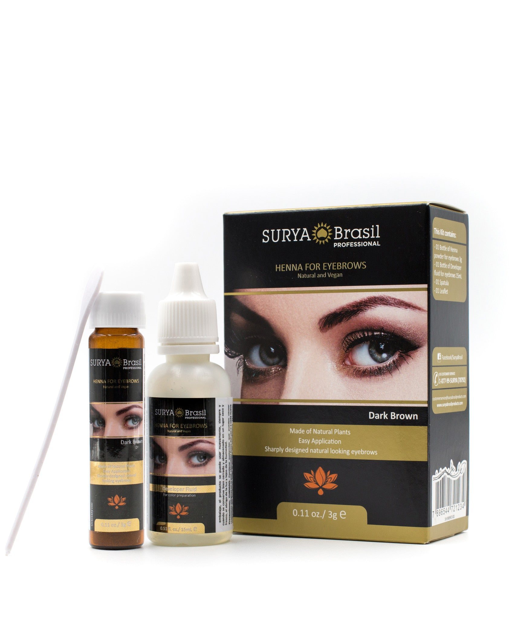 Dark Brown Henna Dye For Eyebrows Surya Brasil