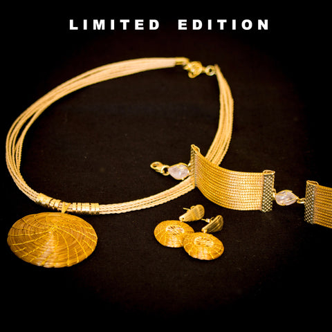 Brazilian Golden Straw Jewelry Set SBP 513112