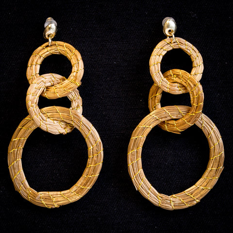Brazilian Golden Straw Earrings SBP 01379