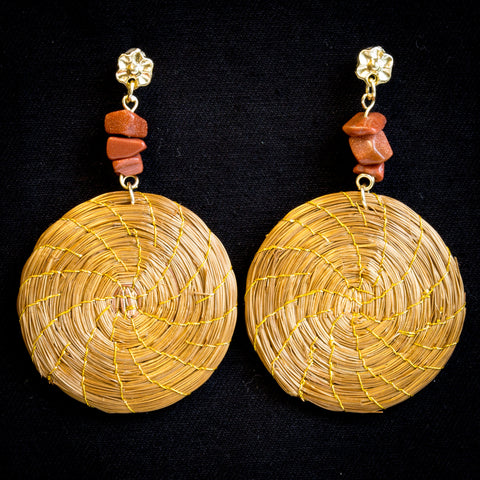 Brazilian Golden Straw Earrings Sbp 013801 Surya Brasil