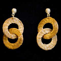 Brazilian Golden Straw Earrings SBP 01384
