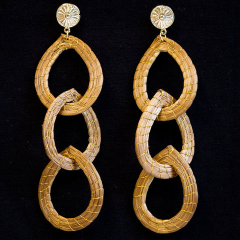 Brazilian Golden Straw Earrings SBP 01399
