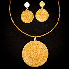 Brazilian Golden Straw Medium Circular Pendant with Matching Earrings SBP 02233