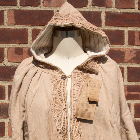 Brown Organic Cotton Hooded Cape