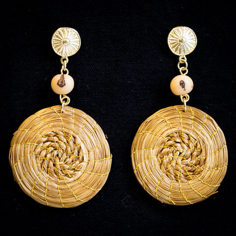 Brazilian Golden Straw Earrings SBP 01555