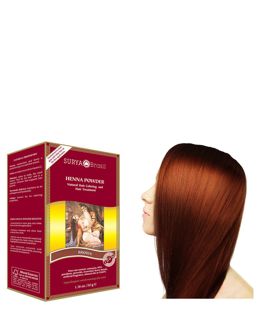 Brown Henna Powder Natural Brown Hair Dye Surya Brasil