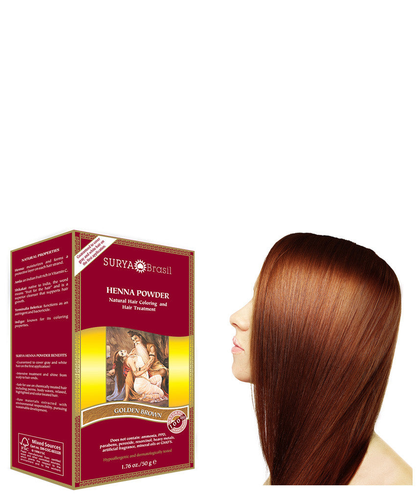 Golden Brown Henna Powder Natural Golden Brown Hair Dye Surya Brasil