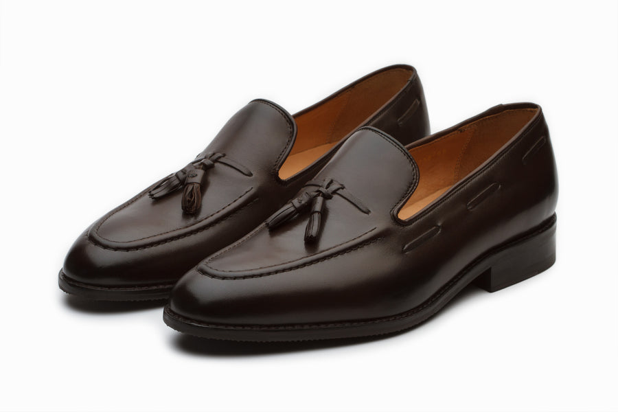 Dark Brown Tassel Loafers with Cord Stitch