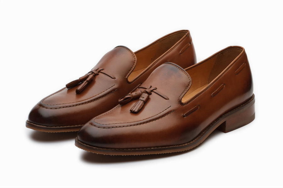 Tan Tassel Loafers with Cord Stitch