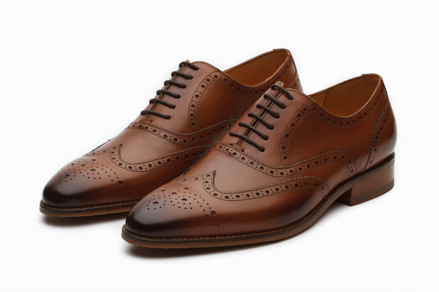 Tan Leather Wingtip Brogue Oxford Shoes