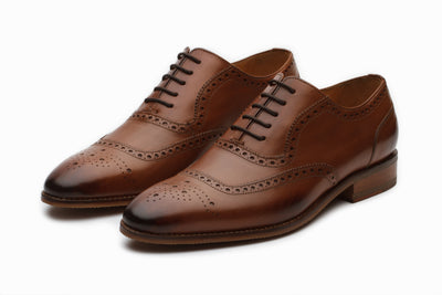 Austin Leather Oxford Brogue Shoes - Tan ( UK 9 , & 11Only )