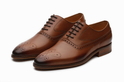 Brogue Oxford - Tan ( UK 9 , 10 & 11 Only )