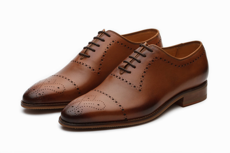 Wholecut Oxford Leather Shoes - Tan
