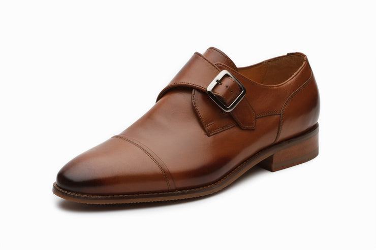 William Leather Monkstrap Shoes - Tan