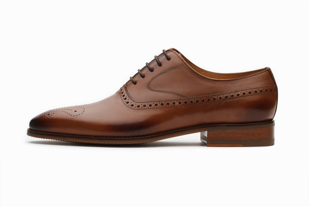Tan Leather Brogue Oxford Shoes with Gimping