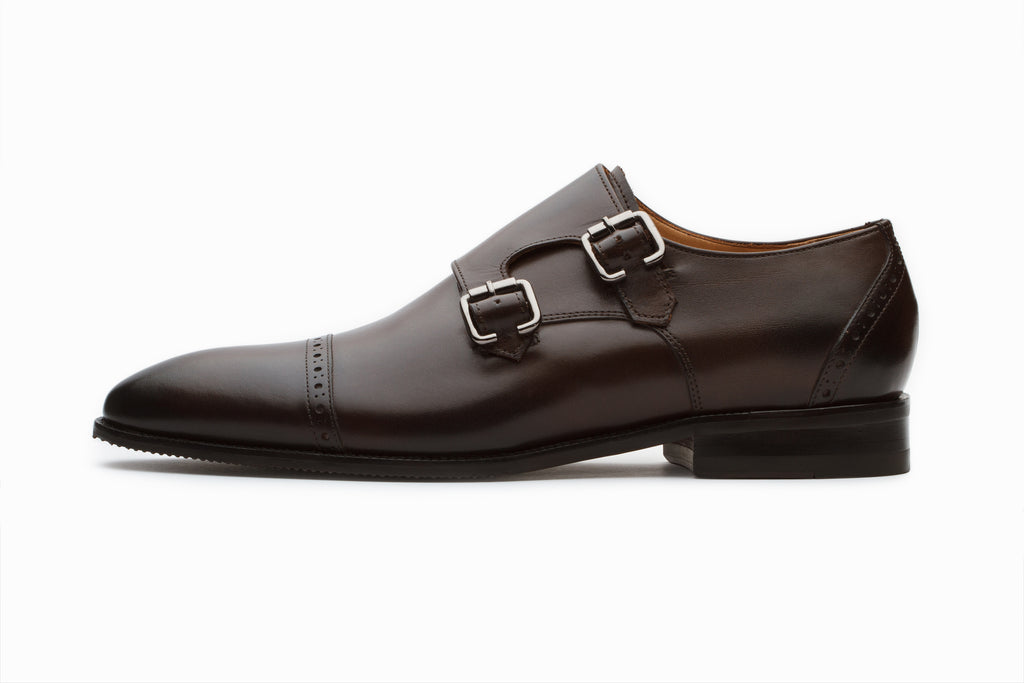 Dark Brown Double Monkstraps Leather Shoes
