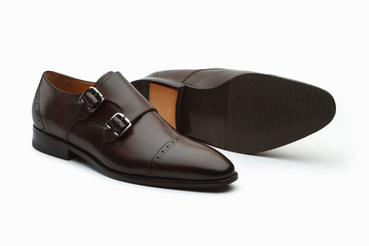 Dark Brown Double Monkstraps Leather Shoes ( 12 ONLY)