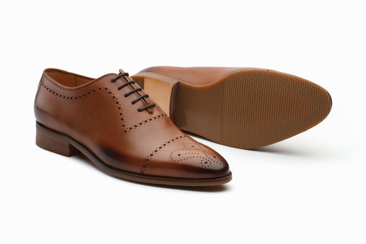 Wholecut Oxford Leather Shoes - Tan (UK  11)